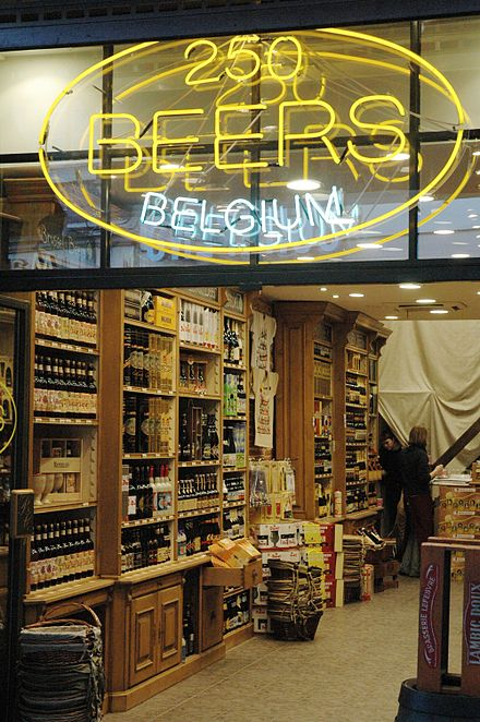 A Belgian shop with 250 different kinds of beer.