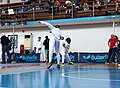 2nd Leonidas Pirgos Fencing Tournament. The fencer Stergios Delis performs a lunge and scores a touch.jpg