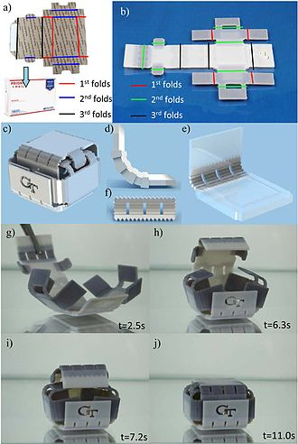 4D printing - An interlocking and self-folding SMP mimicking the folding procedure of a USPS mailbox.