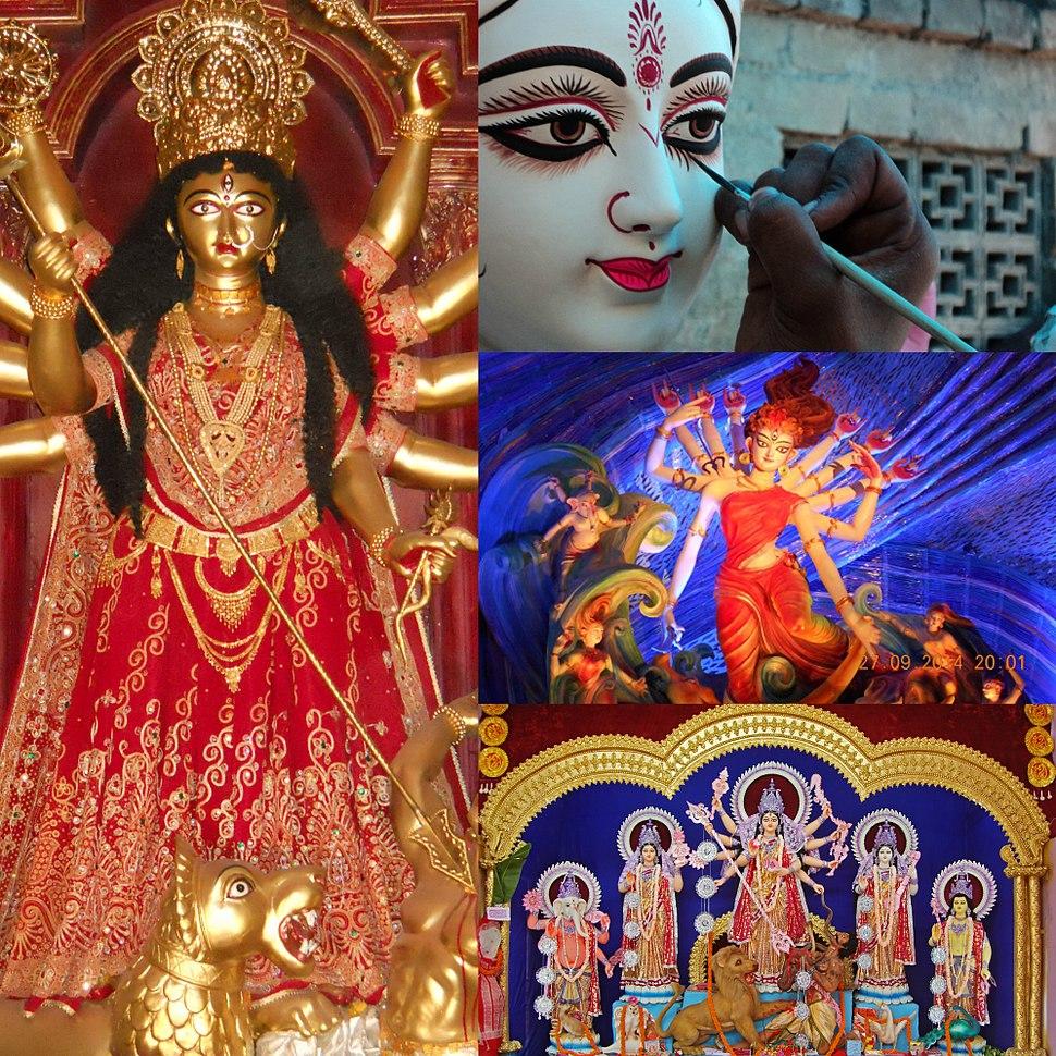 4 Durga puja goddess images collage