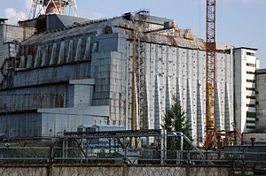 Chernobyl Nuclear Power Plant sarcophagus - A view of the sarcophagus in 2005