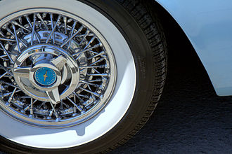 Whitewall tire - Coker Classic radial whitewall tires on a 1957 Ford Thunderbird
