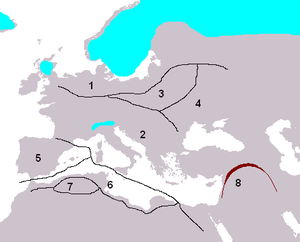 9th millennium BC - Europe and surrounding areas in the 9th millennium BC. Blue areas are covered in ice.  (1) Upper Palaeolithic cultures.  (2) Mesolithic cultures.  (3) Swiderian cultures.  (4) Pontic Tardenoisian cultures.  (5) Iberian Capsian cultures.  (6) Oranian cultures.  (7) Lower Capsian cultures.  (8) The Fertile Crescent.