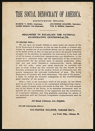 "Socialist Party of Washington - This 1897 ad by Debs' Social Democracy of America states that ""one of the States of the Union, to be hereafter determined, shall be selected for concentration of our members and the introduction of cooperative industry."""