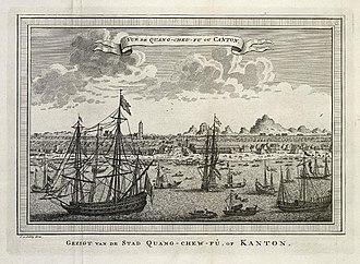 Macartney Embassy - View of Canton, by Jakob van der Schley (1749)