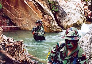 Special operations - Irish Army Ranger Wing operators on a reconnaissance mission in East Timor.