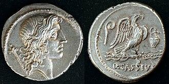 Quintus Cassius Longinus - O: young Jupiter (it could also be Bonus Eventus or Genius Populi Romani), scepter behind
