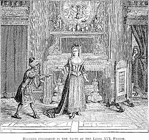 Boudoir - Illustration of a boudoir, in the style at the time of Louis XVI, by Frederick Litchfield, from Illustrated History of Furniture, From the Earliest to the Present Time (1893).