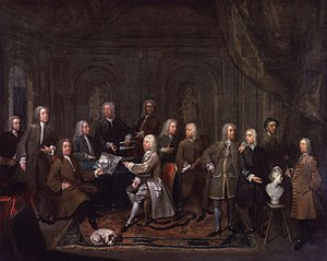 Rose and Crown Club - A Conversation of Virtuosis at the Kings Arms (in Bond Street), Gawen Hamilton, 1734-35. Not his group portrait of the club described in the text, but showing several members, including: Vertue, Dahl, Rysbrack, Kent and Hamilton himself.