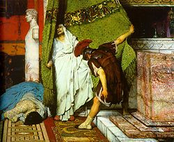 Gratus proclaims Claudius emperor. Detail from A Roman Emperor 41AD, by Lawrence Alma-Tadema. Oil on canvas, c. 1871.