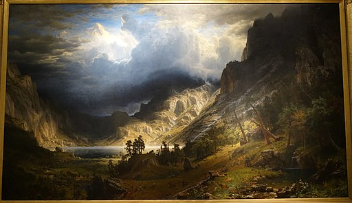 A Storm in the Rocky Mountains, Mt. Rosalie, by Albert Bierstadt, 1866, oil on canvas - Brooklyn Museum - DSC09396