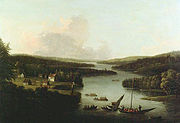 A View of Miramichi, 1760, oil painting by Francis Swaine after a view by Captain Hervey Smyth. Credit National Gallery of CanadaNo 4976