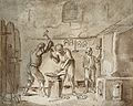 A blacksmith's forge. Pen and ink drawing. Wellcome V0049598.jpg
