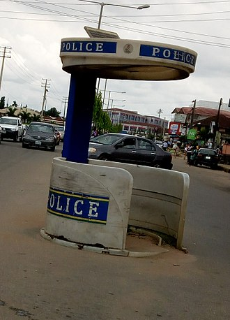 Nigeria Police Force - A police shed for standing during rainy and sunny period of work on road traffic.