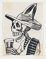 A skeleton wearing a hat having a drink (vignette for the feast of the dead) MET DP867973.jpg
