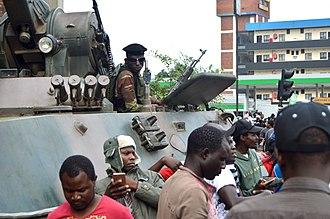 2017 Zimbabwean coup d'état - A tank in downtown Harare