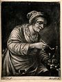 A woman holding a tobacco pipe and a drinking glass. Mezzoti Wellcome V0019063.jpg