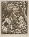A woman rescuing twin babies from a river. Engraving by C. Wellcome L0049005.jpg