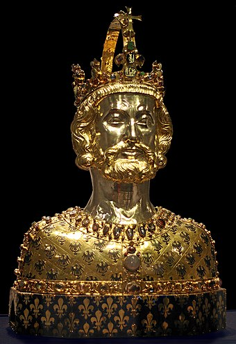 Bust of Charlemagne, located at Aachen Cathedral Treasury Aachen Domschatz Bueste1.jpg