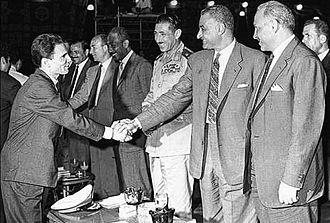Abdel Halim Hafez - Hafez shaking hands with President Gamal Abdel Nasser, with whom he was friends, 1958