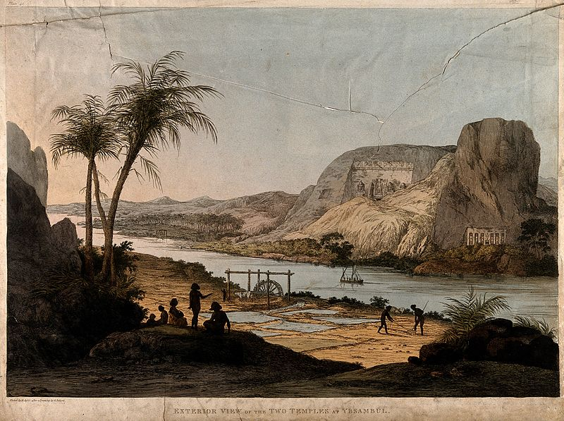 File:Abu Simbel; two temples seen from across the Nile river. Col Wellcome V0014703.jpg