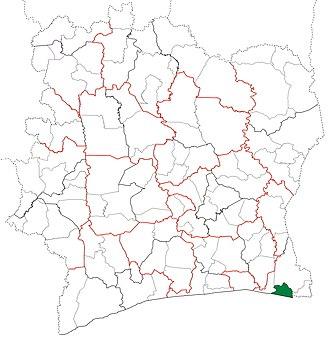 Adiaké Department - Image: Adiaké Department locator map Côte d'Ivoire