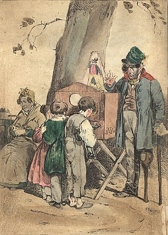 Peep show - A boy looks into a peep show device (illustration by Theodor Hosemann, 1835)