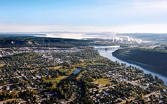 Prince George, British Columbia - Aerial view of Prince George