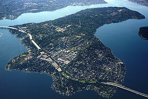Mercer Island, Washington - Aerial view of Mercer Island from the north.
