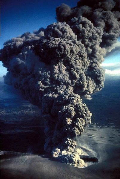 File:Aerial view of erupting and smoking volcano.jpg