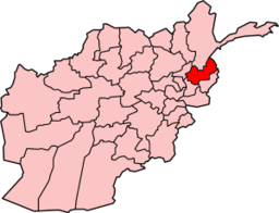 Map of Afghanistan with Nuristan highlighted