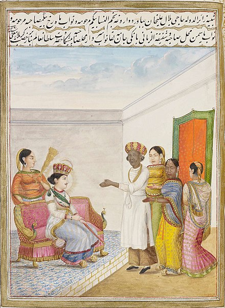 African eunuch (3rd from left) and African queen Yasmin (2nd from right) at the court of Wajid Ali Shah African eunuch (3rd from left) and African queen Yasmin (2nd from right) at the court of Wajid Ali Shah.jpg