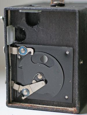 Rotary disc shutter - Rotary shutter in an Agfa Caja 44