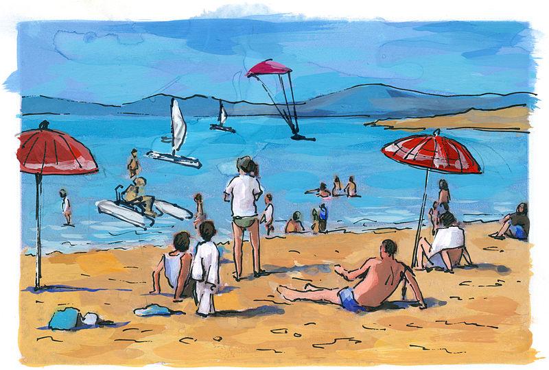 File:Agnes Karikaturen Armenien Sewansee Lake Sevan Strandszene Badeszene.jpg