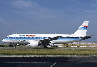 Airbus A320 family - Air Inter A320-100 in 1991, one of the few A320-100s