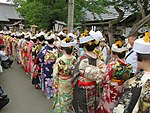 Procession of young women clad in kimono
