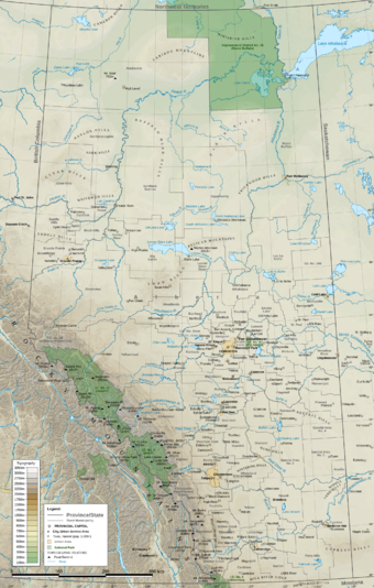 Physiographic map of Alberta Alberta Topo Labeled 90 dpi.png