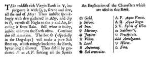 Classical planet - Extract and symbol key from 17th century alchemy text.
