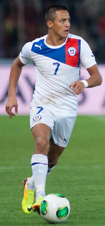 Alexis Sanchez is the top scorer in the history of Chile with 41 goals, and the most capped player with 124 caps Alexis Sanchez - Spain vs. Chile, 10th September 2013 (cropped).jpg