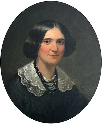 Alice Cary - 1850 portrait of Alice Cary in New York City which hangs in her childhood home in North College Hill, Ohio