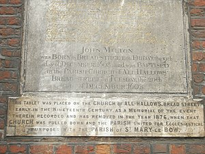All Hallows, Bread Street - Stone tablet commemorating John Milton, now at St Mary-le-Bow