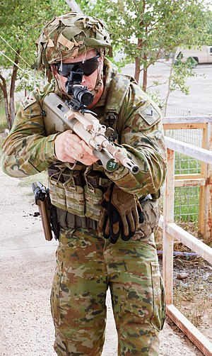 Australian Multicam Camouflage Uniform -  An Australian soldier attached to Task Group Taji demonstrating tactical movement.