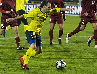 Andrés Iniesta - Iniesta playing against Rubin Kazan in the UEFA Champions League, October 2009.