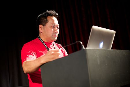 Andrew Lih talked about video for Wikipedia at Wikimania 2014 - 14674208318.jpg