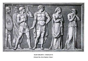 Anne Seymour Damer - Engraving of Coriolanus (c. 1789) one of two bas reliefs created by Damer for the Boydell Shakespeare Gallery