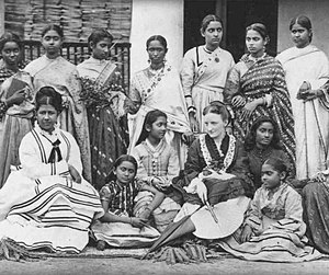 Annette Beveridge -  Annette Akroyd with the students of Hindu Mahila Vidyalaya, 1875.