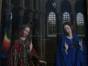 Hockney–Falco thesis - Detail of the Annunciation (van Eyck, Washington) with three crown glass windows behind Mary