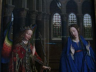 Annunciation (van Eyck, Washington) - Detail - Mary and Gabriel