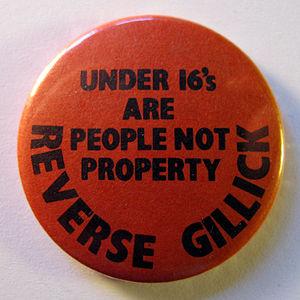 Gillick competence - Image: Anti Victoria Gillick campaign badge, 1985