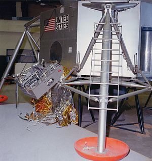 Apollo TV camera - Lunar Module training mockup, showing relative position of deployed camera